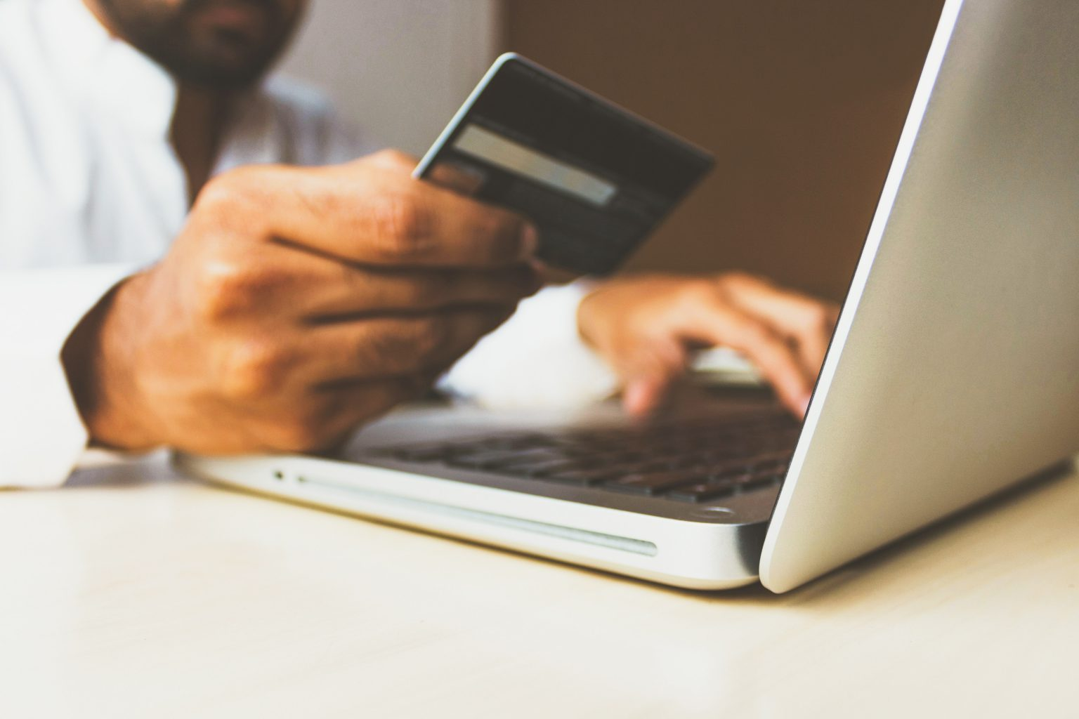 Making a card payment online.